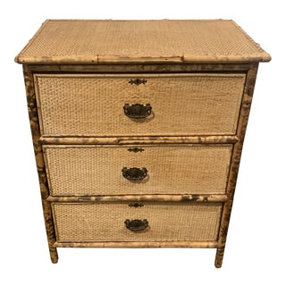 1970's English Scorched Bamboo Chest For Sale