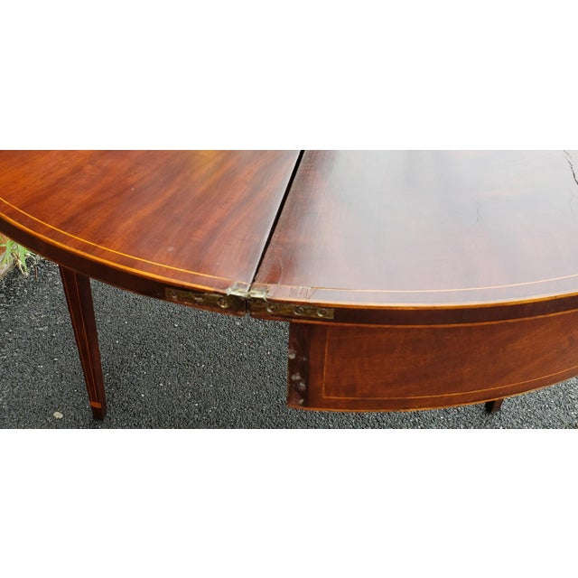 American American Federal Inlaid & Figured Mahogany Demilune Games Table Rhode Island or Connecticut C1795 For Sale - Image 3 of 13