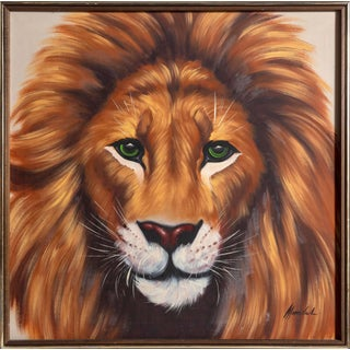 Photorealist Oil Painting of Lion For Sale