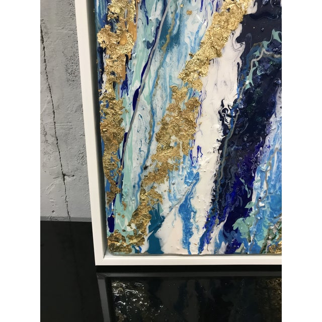 Abstract Framed Oil Painting With Resin and Rock Crystal on Canvas by Franchy For Sale - Image 12 of 13