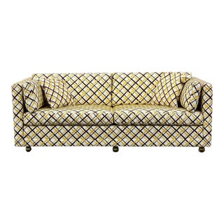 Mid-Century Modern Seemay Large Vinyl Loveseat With Top Stich For Sale