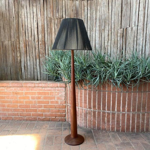 Vintage Danish Modern Teak Floor Lamp With Period Black String Shade For Sale - Image 12 of 13