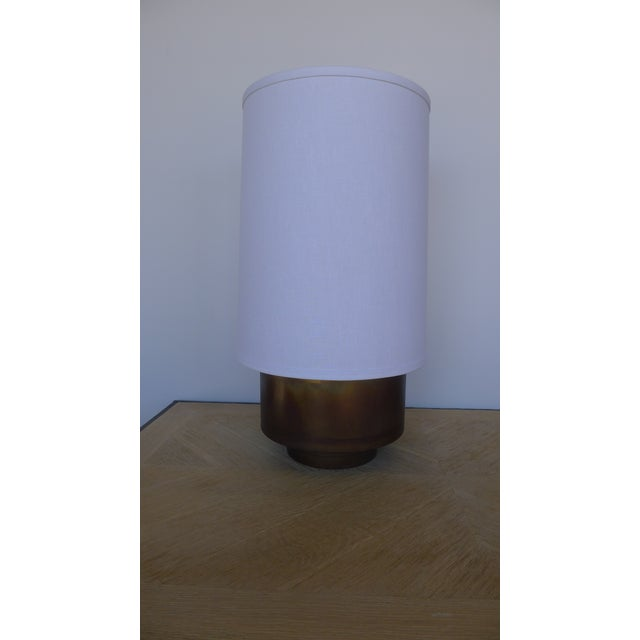 Modern Brass Table Lamp with Linen Shade For Sale In Los Angeles - Image 6 of 9