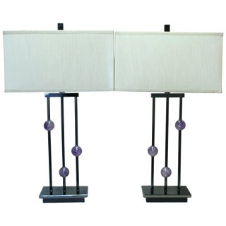 Pair of Modern Style Amethyst Quartz Lamps For Sale