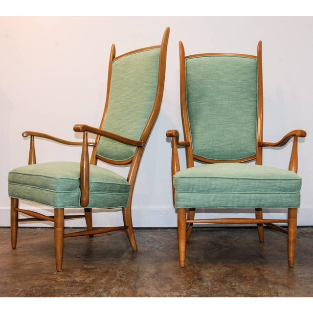 Mid-Century Modern 1950's Maxwell Royal American Designed High Back Upholstered Chairs - a Pair For Sale - Image 3 of 8