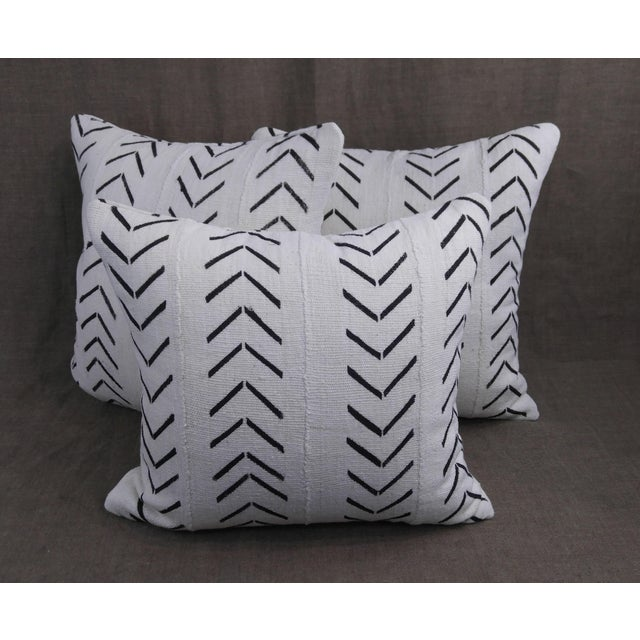 """2020s Vintage Authentic """"Mudcloth"""" White With Black Design Pillows - Set of 3 For Sale - Image 5 of 6"""