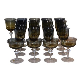 1970s Denby Hand Blown Crystal Aurora Blue & Amber Ombre Glasses - Set of 21 For Sale