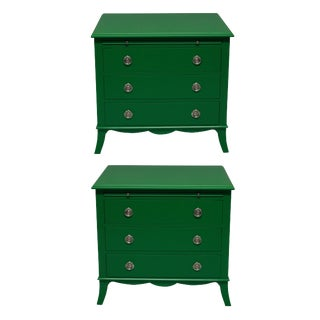 A Pair of Green Lacquered Chests For Sale