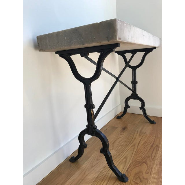 20th Century French Marble & Iron Bistro Table For Sale - Image 4 of 10