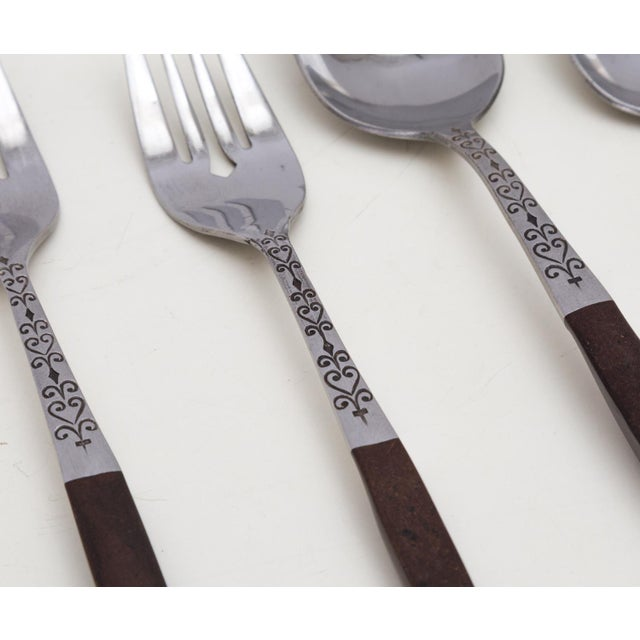 Midcentury Modern Interpur Stainless Flatware Set 6 Place Settings, 32 Pieces For Sale - Image 4 of 7