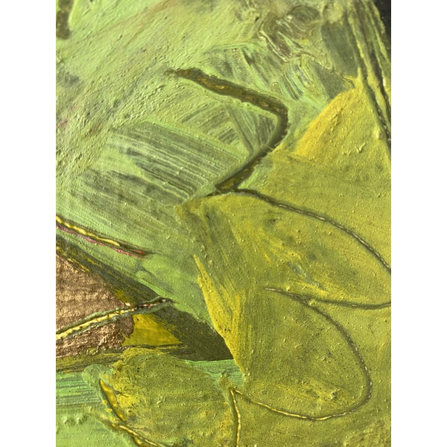 Canvas Vintage Postmodern Abstract Sgraffito Oil Painting For Sale - Image 7 of 13