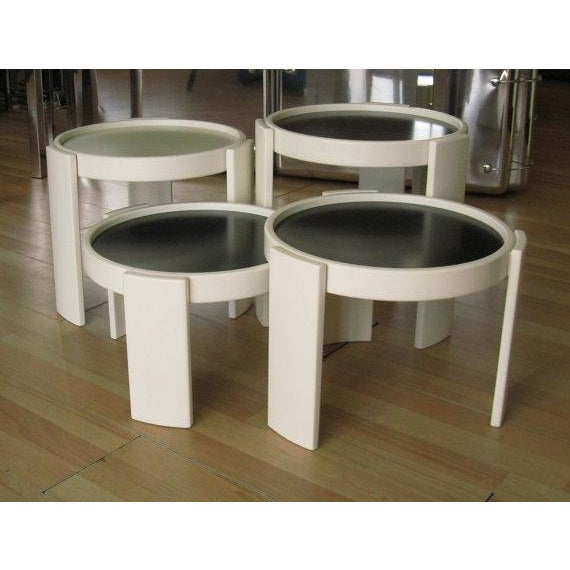Italian Cassina Stacking White Nesting Tables - Set of 4 For Sale - Image 3 of 7