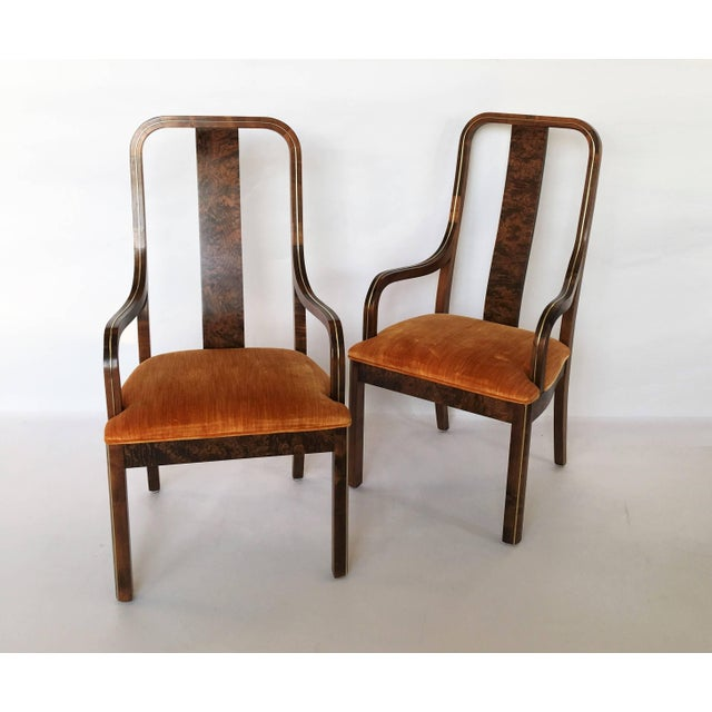 Set of six dining chairs by Century Furniture Company. The chairs feature stunning burled wood, with exquisite brass inlay...