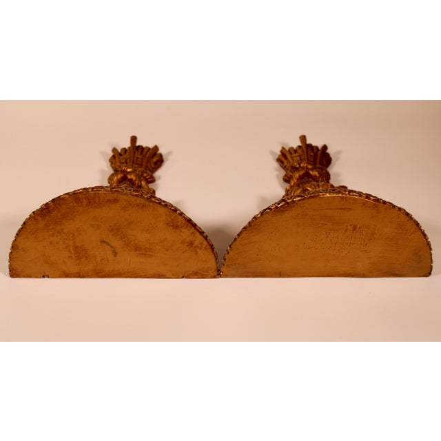 Resin 1960s Hollywood Regency Italian Golden Wheat Wall Shelves - a Pair For Sale - Image 7 of 11