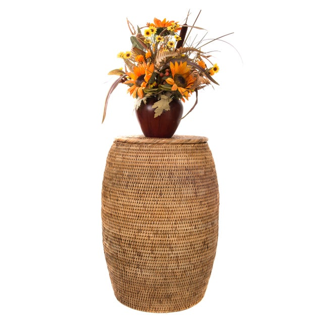 2010s Artifacts Rattan End Table With Lid For Sale - Image 5 of 5