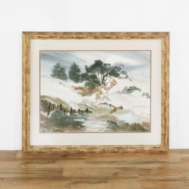 2010s Framed Painting of Billowing Landscape For Sale - Image 5 of 5