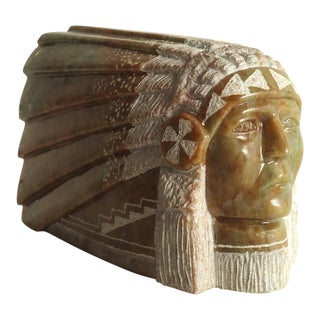 Leonard Howard Native American Style Stone Bust For Sale