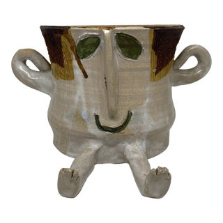 1977 Signed Studio Pottery Face Figurative Planter With Arms and Legs For Sale