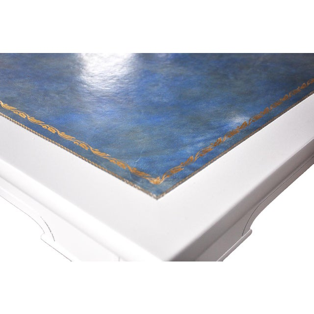 Neoclassical-Style Blue Leather Game Table - Image 3 of 4