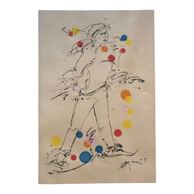 "1969 Mid-Century Modern ""Jester"" Serigraph by Ottley Schonberger For Sale"