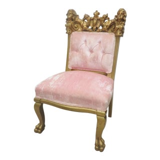 Victorian Figural Carved Gold Side Chair For Sale
