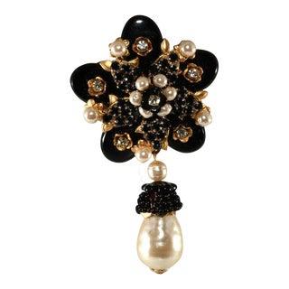 Stanley Hagler Black Glass Faux Pearl Flower Brooch Pin St. Gielar For Sale