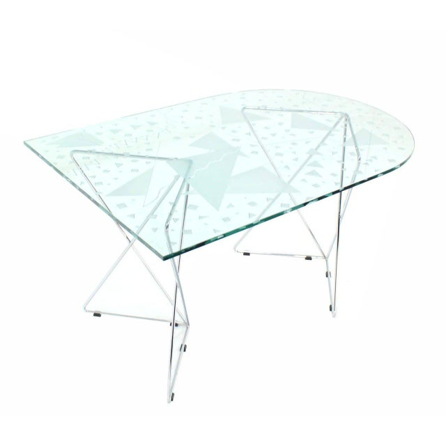 Incredible Pattern-Top Art Glass Dining Table with Chrome Wire Base ...