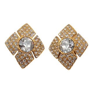Christian Dior Paris Signed Clear Rhinestones Jeweled Paved Clip on Earrings For Sale