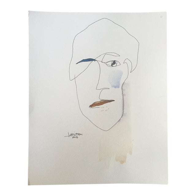 Abstract Face Watercolor Painting - Image 1 of 8