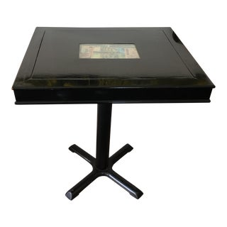 60's Black Lacquer Bistro Table With Asian Currency For Sale