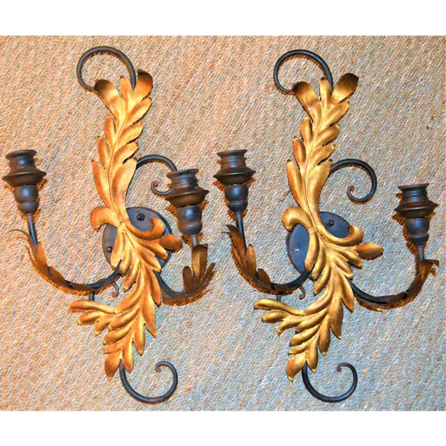 Currey & Company Currey & Company Candelabra Iron Sconces - a Pair For Sale - Image 4 of 8