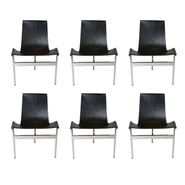 """Set of 6 1952 Katavolos Kelley & Littell for Laverne """"T"""" Chairs in Black Leather For Sale - Image 13 of 13"""