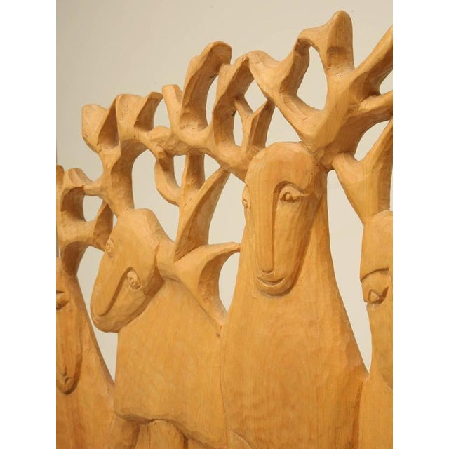 Lodge Seven Stags Hand-Carved Bed by Jerzy Kenar For Sale - Image 3 of 10