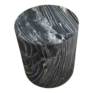 Black, Gray, and White Veined Marble Monolith Side Table For Sale