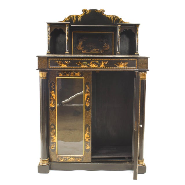 Black Regency Lacquered Chinoiserie Sideboard For Sale - Image 8 of 8