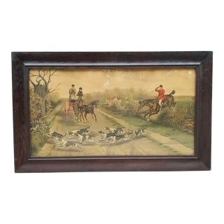 Antique English Hunting Framed Print For Sale
