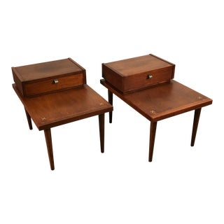 Mid-Century Modern Side Table Pair ~ by American of Martinsville Accord X-Inlay For Sale