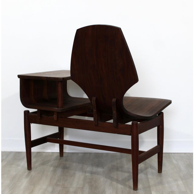 Wood Mid Century Modern Plycraft Bentwood Telephone Gossip Table & Side Chair For Sale - Image 7 of 11