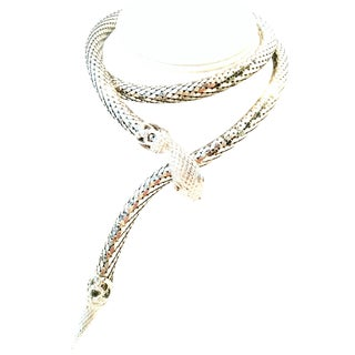 1970's Vintage Whiting & Davis Silver Metal Mesh Coil Snake Necklace For Sale
