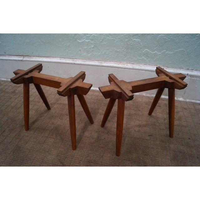 Studio Made Solid Walnut Long Low Table/Bench - Image 9 of 10