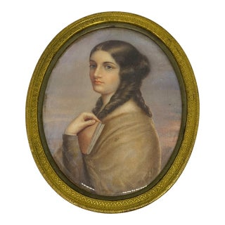 """19th Century """"Woman Holding a Book"""" Miniature Portrait Painting, Framed For Sale"""