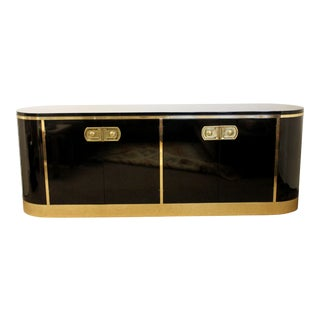 Art Deco Mastercraft Black Lacquer & Brass Console Credenza For Sale