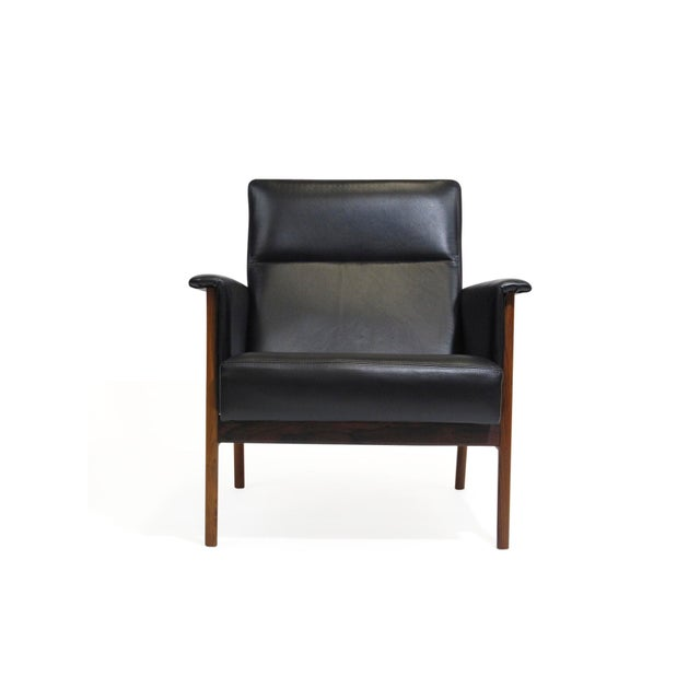 Danish Modern Rosewood and Black Leather Lounge Chair For Sale - Image 3 of 12