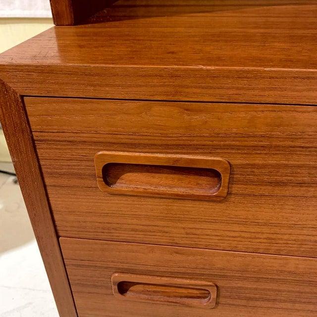 Danish Modern Pair Poul Hundevad Danish Modern Teak Bookcases Shelves W. 4-Drawer Chest Base For Sale - Image 3 of 9