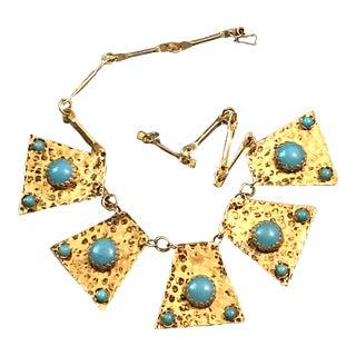 Vintage Gold Blue Turquoise Hammered Necklace For Sale