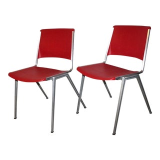 1960s Mid Century Modern Steelcase Stackable Red Plastic Chairs - a Pair For Sale