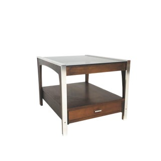 Mid Century Chrome, Wood and Wicker End Table For Sale
