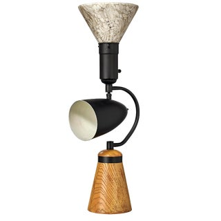 Mid-Century Modern Dual Light Table Lamp With Wood Base For Sale