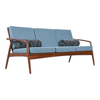 Mid-Century Modern Grete Jalk Style Three-Seat Walnut Frame Sofa Couch For Sale