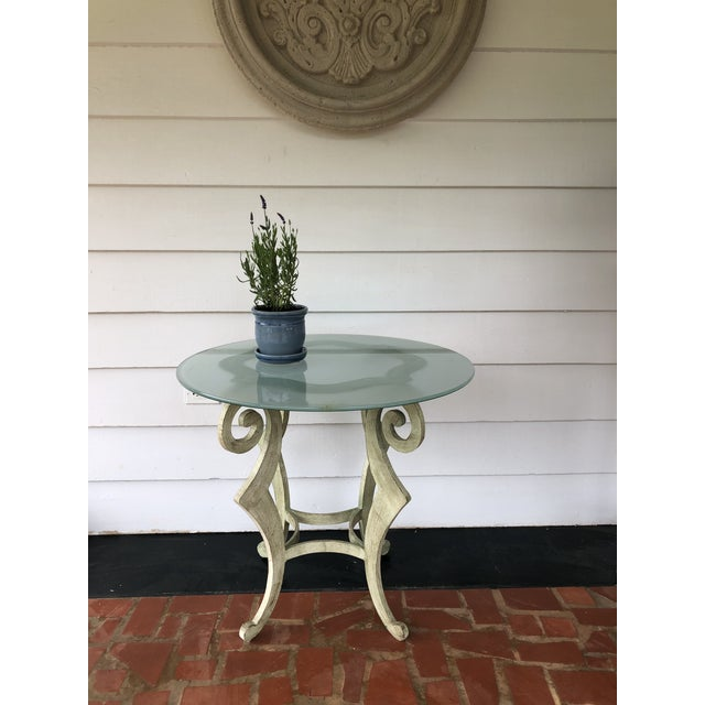 Mid-century modern metal scroll table by Drexel Heritage. Exquisite masterful yellow-green coloration. Suitable for indoor...
